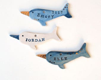 Narwhal Ornament, Personalized, Ceramic, Pottery, Handmade - Customized Ornament - Kids, Baby, Child Ornament, Porcelain stamped with name