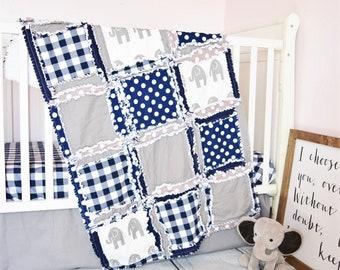Elephant and Plaid Blanket Crib Size Rag Quilt - Gray / Navy Crib Bedding
