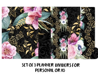 Set of 5 planner dividers for Personal or A5 size. Planner Accessories, Planner Decorations, Filofax, Planners, Kikki k. Floral, Gold - 004