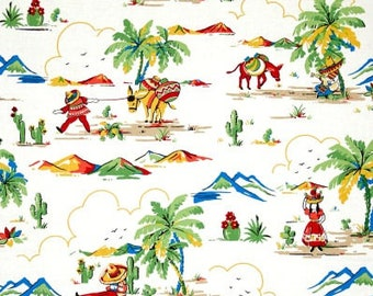 """Retro Mexican Village print Valance or Panel 40 X 14"""" 18"""" 24"""" 32""""  Curtain Lined or Unlined"""
