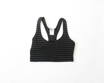 1990s Ribbed Crop Top Sports Bra Racer Back 90s Tankini Cropped Midriff Belly Shirt Striped Bralette Active Wear Athleisure Sporty Small Med