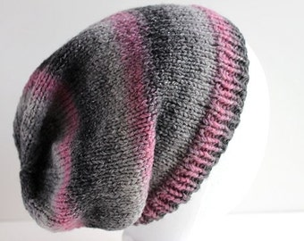 Knit Slouchy Hat, Beanie Slouch Hat, Women's Knit Slouchy Hat, Slouchy Beanie, Knit Winter Hat, Pink and Gray