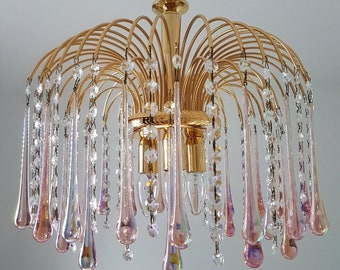 Gold plated gilt chandelier by Paolo Venine with Murano glass teardrops, 1970s