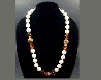 Memorial Day Sale Fabulous Long 30 Inch Chunky Knotted Bead Necklace White, Amber, Brown Stripe Beads