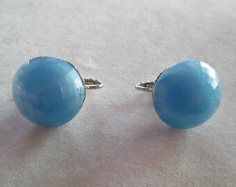Silver and baby blue faceted drop clip on earrings