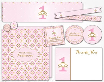 Princess Birthday Party Printable Decorations - INSTANT DOWNLOAD - Pink and Gold First 1st Birthday Decor