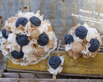 Set of Navy Burlap Bridal Bouquet, Toss Bouquet and Boutonniere, Navy Burlap and Lace Wedding Flowers, Fabric Flowers, Rustic Wedding Set