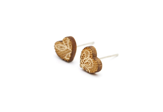 Heart studs with lace pattern - tiny heart earrings - romantic mini jewelry - lasercut maple wood - hypoallergenic surgical steel posts