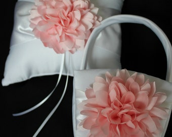 Cream or White Ring Bearer Pillow and Basket Blush
