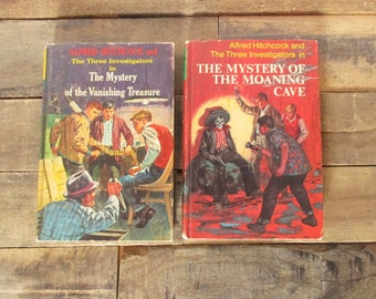 SALE* Pair of First Edition Alfred Hitchcock Three Investigators books. The Mystery of Moaning Cave,  The Mystery of the Vanishing Treasure.