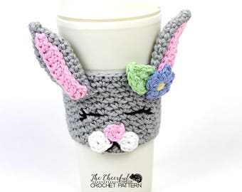 Bunny Crochet Pattern - Bunny Coffee Cozy Pattern  Crochet Coffee Sleeve Pattern - Coffee Sleeve Pattern