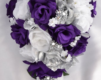 Wedding bridal bouquets silk flowers ivory black silver 17 wedding flowers wedding bouquet silk flower bouquet bridesmaid bouquet bouquet set junglespirit Image collections