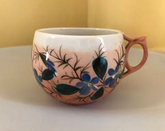 Antique 1850's-1880's Porcelain HP Mustache Mug or Cup  ES Signed Salmon  Blue