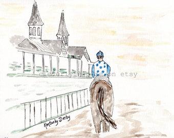 REPRINT: Dawn at Downs, Kentucky Derby, Jockey, Watercolor, Original Art, Churchill Downs