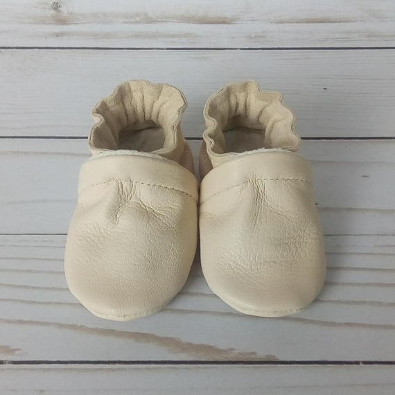 Cream Leather Soft Sole Baby Shoes 0-3M