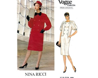 Vogue Paris Original 1295 NINA RICCI Womens Coatdress Button Front Dress 80s Vintage Sewing Pattern Size 14 Bust 36 inches