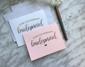 Thank you - Maid of Honor, MOH, Bridesmaid, Flower Girl - Gold, Rose Gold or Silver Foil Heart