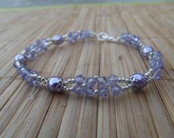 Swarovski Crystal and pearl bracelet, handmade.