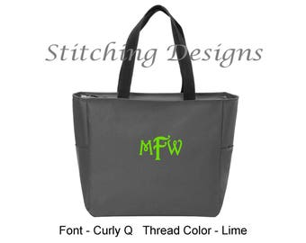 Personalized Zipper Tote, Monogrammed tote, Teacher gift, Bridesmaid, Zip Tote - BLACK or CHARCOAL