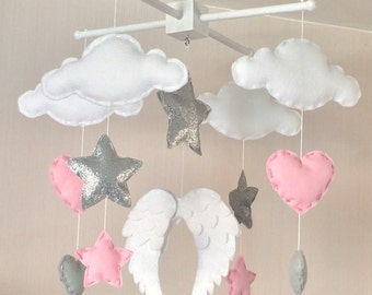 Baby mobile - Baby girl mobile - Cot mobile - Angel wings, clouds, hearts and stars mobile - Cloud Mobile - Nursery Decor -
