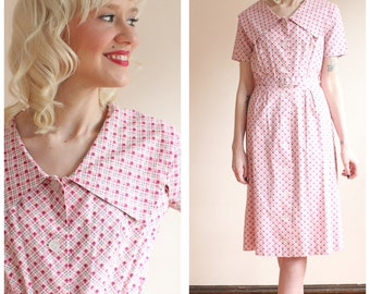 1940s Dress // Picket Fence Day Dress // vintage 40s dress