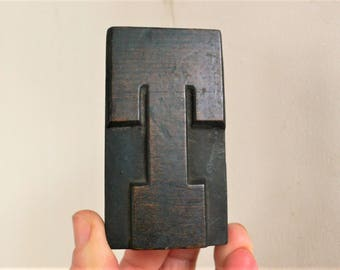 "Letterpress Wood Type T- 3-1/4"" Tall 8.5 cm/ Antique Letterpress Wood Printer's Block HAND CARVED wabi sabi"