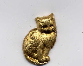 3 Cat with Curled Tail Brass Metal Stampings
