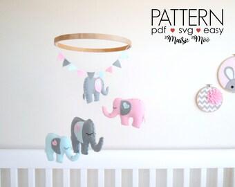 Elephant Nursery Mobile Pattern DIY Felt Baby Mobile Pattern SVG Felt Elephant Sewing Pattern Elephant Baby Shower Elephant Crib Mobile