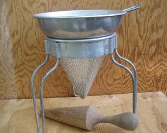Vintage jelly maker, strainer, Colander Sieve Food Mill Pestle on stand