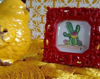 cactus flower tiny art framed