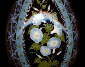 Made To Order: Heavenly Blue Morning Glory Ipomoea purpurea Pysanka Batik Egg Art
