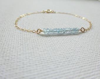 March birthstone aquamarine bracelet, March Birthstone bracelet, Gemstone Bracelet,  Graduation gift, Zodiac jewelry, Birthstone jewelry