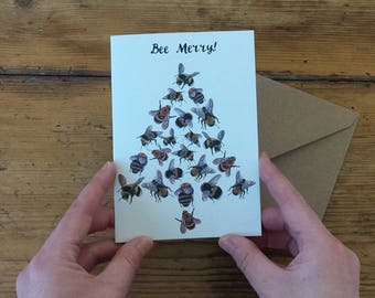 Bee Merry! Christmas Cards with illustrations by Alice Draws the Line;with bees in a tree formation& hand lettering.Pack of 4 / individually