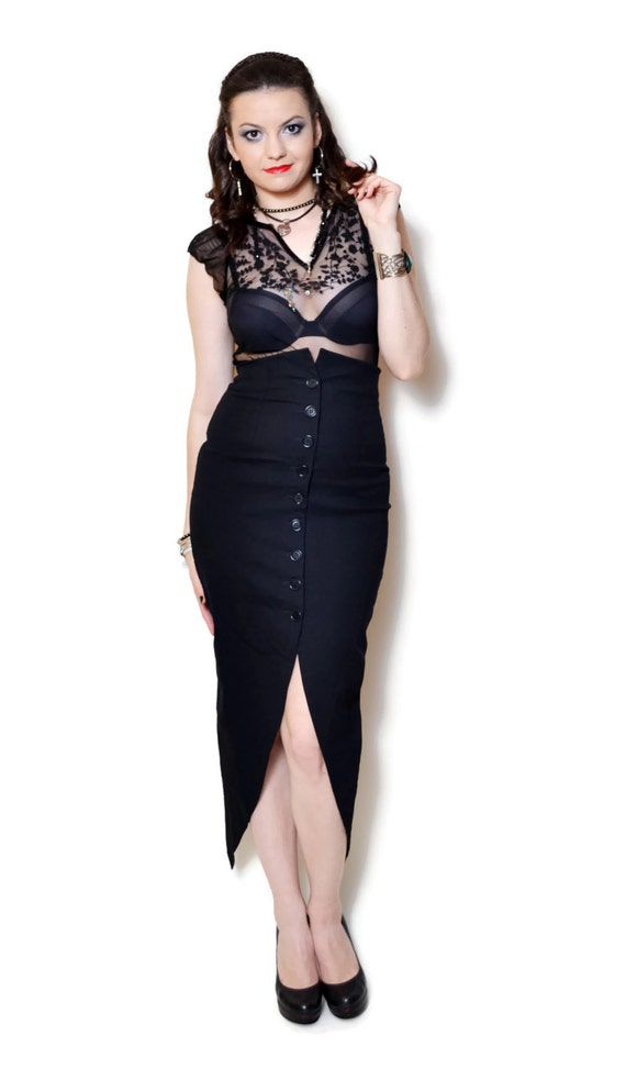 fitted bodycon long waist pencil sexy slitted midis midi sexy tight elegant high skirt designer black skirts up 90s slit office button CzfqPW