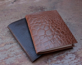 Leather Pocket Notebook / Pocket Journal - The Pascale - Embossed Leather