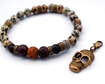 Mens dalmatian jasper & lava rock beads bracelet, Stacking stretch skull charms bracelet, gemstone jewelry bracelet, men beaded bracelets