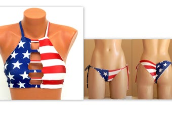 American Flag Bikini/USA flag strappy bikini top and bikini bottoms/Swimwear women/Bathing suits/Swimsuits plus size/Flag bikini set