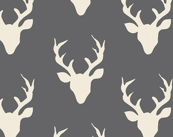 HELLO, BEAR - Buck Forest Moonstone  - by Bonnie Christine for Art Gallery Fabrics HBR 4434 9 - Grey