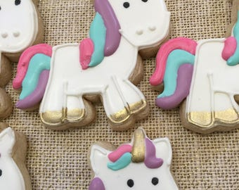 1 dzn. Unicorn  decorated sugar cookie. 4 in. party favors or treat table platter. Perfect for birthday, baby shower, add rainbow cookie