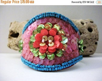 ON SALE Retro Funky Garden Party Colorful Hand Stitched Beads Cuff 62816