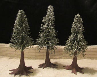 "3 Piece Set Vintage Dept. 56 Flocked Pine Christmas Trees Textured Plastic Trunks 9"" and 7"" Marked Putz Woodland Scene Rustic Taiwan ROC"