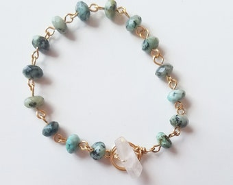 African Turquoise and Matte Quartz Toggle Bracelet