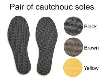 Summer Sale Coutchouc soles for my handmade slippers - black - brown - yellow