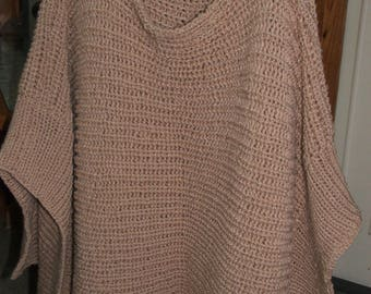 PONCHO - handmade knitting - camel color
