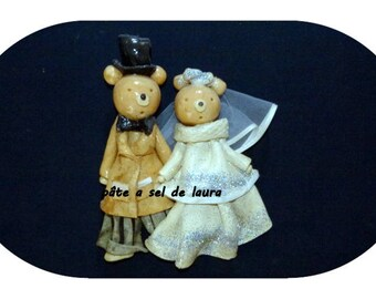 a couple of bears in love in salt dough