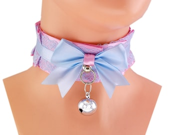 pink collar Kitten play collar ddlg collar pet play collar BDSM collar choker puppy princess pastel gothic kawaii neko collar fairy kei M1