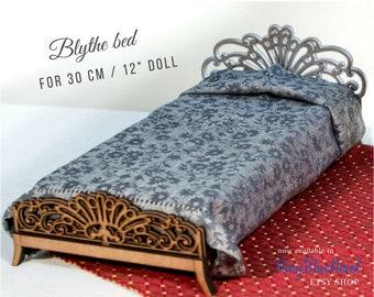 "Blythe bed for 30 cm 12"" doll  PRE-ORDER DIY doll furniture kit, dollhouse furniture, self assembly laser cut unpainted flatpack art 1784305"