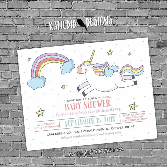 Unicorn birthday invitation baby shower confetti rainbow hearts little girl sprinkle gender neutral reveal 1st first | 2007 Katiedid Designs