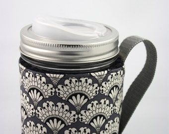 ReFluff, mason jar sleeve, mason jar cozy,eco friendly,up cycled, thermos, eco gift, fan, mason jar, fan, black and white, cuppow, starbucks