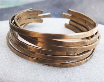 Bronze Stacking Bangles, Bronze Bracelets, 8th Anniversary Gift, Set of 8 Bracelets, Rustic Bronze